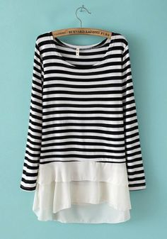 Navy Blending Round Neck Long Sleeve Striped Patchwork TOPS