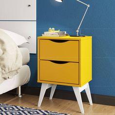 Gaveteiro/Criado-mudo Tutti Color com Pés Palito 2 Gavetas Amarelo/Branco - Madesa | Lojas KD