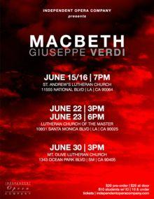 Verdi's MACBETH To Close Independent Opera Company's Inaugural Season
