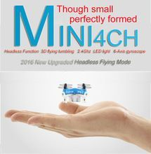 2016 New Smallest Mini Parrot Drone Helicopter FY804 4CH 2.4G 6Axis 360 Degree Roll Drone LED Plane Model Toys RC Quadcopter