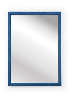 Blue Raffia Rectangular Wall Mirror Blue Wall Mirrors, Wood Mirror, Mirror Words, Blue Walls, Cube, Frederick Cooper, Frame, Ships, Detail