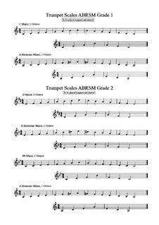 The Complete 12 Major Scales for Trumpet Fingering Chart - Free ...