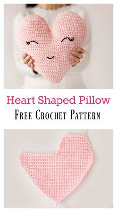 Crochet Amigurumi Patterns Heart Shaped Pillow Free Crochet Pattern - crochet heart patterns are always a popular choice at Valentine's Day. You will fall in love with this Heart Shaped Pillow Free Crochet Pattern. Crochet Gifts, Cute Crochet, Crochet For Kids, Crochet Dolls, Crotchet, Crochet Pillow Pattern, Crochet Cushions, Crochet Stitches, Sewing Pillows