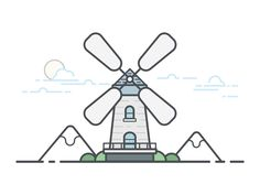 The windmill by Huazi #Design Popular #Dribbble #shots