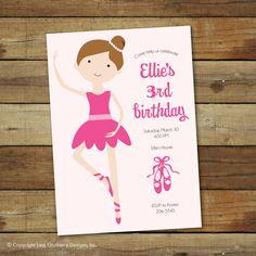 ballerina birthday party invitation, ballet birthday party, printable ballet invitation de saralukecreative en Etsy https://www.etsy.com/es/listing/125850092/ballerina-birthday-party-invitation