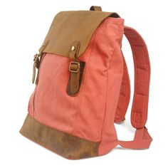 rose red leather and canvas backpack