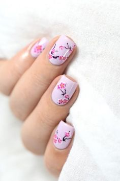 picture polish blossom swatch and cherry blossoms spring nail art. Picture Polish, Nail Art Designs, Nail Designs Spring, Cute Spring Nails, Spring Nail Art, Swatch, Girly, Cherry Blossom Nails, Cherry Blossoms