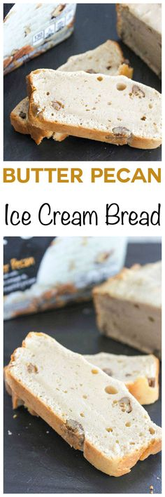 Easy Butter Pecan Ice Cream Bread: Moist and tender bread that tastes just like your favorite ice cream flavor! One of the easiest recipes on the planet! Can you guess the 2 common ingredients? Ice Cream Desserts, Ice Cream Flavors, Frozen Desserts, Ice Cream Recipes, Easy Desserts, Delicious Desserts, Dessert Recipes, Yummy Food, Appetizer Recipes