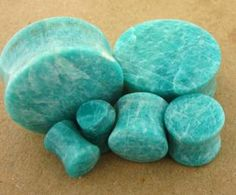 Premium Grade VA Amazonite Stone Plugs | Onetribe. I want something like this for the wedding