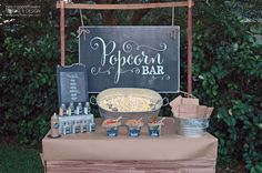 Chalkboard Popcorn Bar - styled by Pen N' Paper Flowers - great for weddings, showers, parties, anniversaries, family reunions and school festivals.