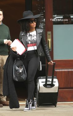 black leather jacket + white, white, and red graphic tee + black leggings + black and white sneaker wedges Black Girl Fashion, Cute Fashion, Fashion Outfits, Womens Fashion, Fashion Trends, Moda Afro, Christina Milian, Swagg, Her Style
