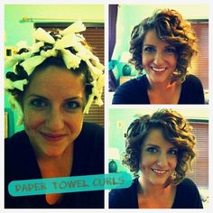 Hmmm... Paper towel curls- So easy, just roll your hair in paper towels after a shower, and it absorbs the moisture.   Then either sleep on them or diffuse them... I wanna try!,