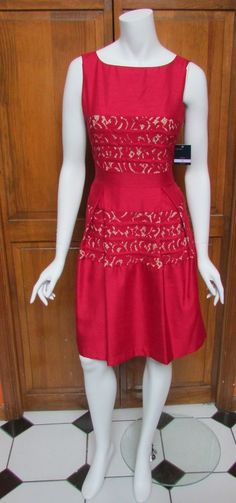 Just Taylor Red Lace & Nude Sleeveless Fit N Flare Knee Length Dress Sz 6 NWT #JustTaylor #FitnFare #Cocktail