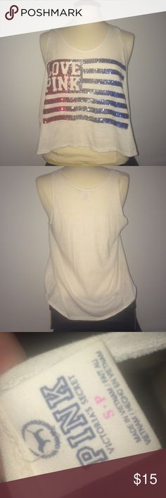 PINK sleevless sequined  top red white and blue PINK top perfect condition no stains! PINK Victoria's Secret Tops Tank Tops