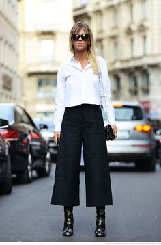 Crisp white shirt, wide cropped trousers & black ankle boots