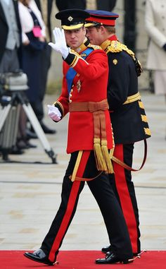 April 29, 2011:  Kate Middleton was the main draw, but don't forget her new husband Prince William!   Luckily, the prince wore a bright scarlet uniform to ensure people still remembered he was around. The elegant ensemble was the official uniform for a Colonel of the Irish Guards, one of William's honorary titles. A garter sash and star, his Royal Air Force wings and a Golden Jubilee medal lent further dignity to the look.