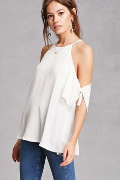 A crepe woven top featuring a halter neck with a back button closure, open-shoulders, self-tie short sleeves, and a relaxed fit.<p>- This is an independent brand and not a Forever 21 branded item.</p>