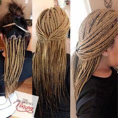 Small blonde box braids