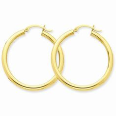 3 mm Large Hoop Earrings https://www.goldinart.com/shop/earring/14k-earrings/3-mm-large-hoop-earrings #14KaratGold, #Earrings