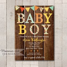 Fall Rustic Wood Baby Boy Patterned Baby Shower Invitation - Autumn Invite - Printable Baby Shower Invitation - PRINTABLE INVITATION DESIGN by MommiesInk on Etsy https://www.etsy.com/listing/204841733/fall-rustic-wood-baby-boy-patterned-baby