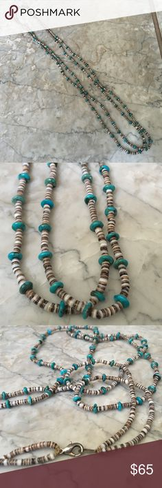 Native American Turquoise Heishi Beaded Necklace Double stranded turquoise with heishi necklace, very nicely made, probably made by hand, possibly Navajo, beautiful colors in the turquoise Jewelry Necklaces