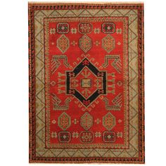 Found it at Wayfair - Kazak Hand-Knotted Red/Light Blue Area Rug