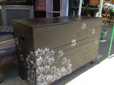 Dandelion Stenciled Storage Chest