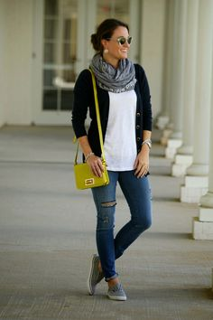 Fall Layers.  Not a fan of the ripped jeans look, but otherwise, very wearable