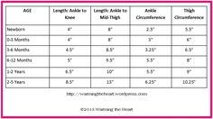 Leg Warmer Sizing Chart .This is just what i needed takes the guess work out of working out what length width etc !