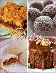 dates-recipes Date Recipes, Sweet Recipes, Cookie Desserts, Vegan Desserts, My Favorite Food, Favorite Recipes, Egyptian Food, No Calorie Foods, Middle Eastern Recipes