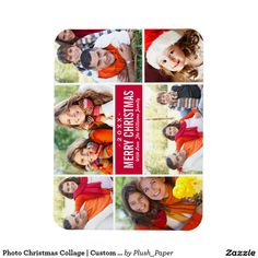 Photo Christmas Collage | Custom Color Rectangular Photo Magnet. #ChristmasGifts#ChristmasIdeas