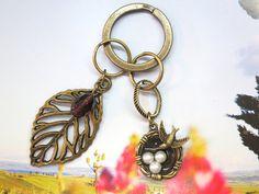 Vintage Brass Leaf. Bird Net charm. 3D. Keychain by AccessoriesG, $3.80