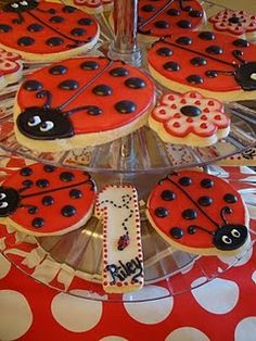 Ladybug Cookies ~ for ladybug themed parties or just for fun! There is a recipe at the bottom of the page for Simple Sugar Cookies to make your own lady bug cookies...it is from the Taste of Home Baking Book