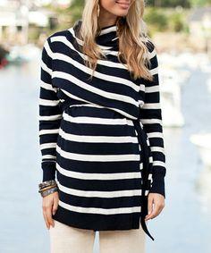 Navy & Ecru Stripe Four-Way Maternity & Nursing Open Cardigan.