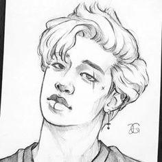 Kpop Drawings, Pencil Art Drawings, Art Sketches, Drawing For Kids, Art For Kids, Kids Fans, Taehyung Fanart, Game Concept Art, Kpop Fanart