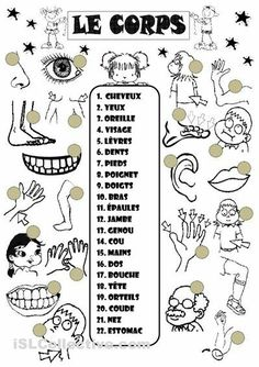 French vocabulary for parts of the body - Le corps en français French Language Lessons, French Language Learning, French Lessons, French Teacher, Teaching French, How To Speak French, Learn French, French Body Parts, French Worksheets