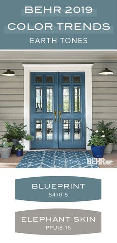 Earth tone paint color palette from the Behr 2019 Color Trends collection. Behr 2019 Color of the Year: Blueprint. This modern blue hue is a great, bold accent color as seen on this front door. Elephant Skin is a light neutral gray Exterior Paint Colors For House, Paint Colors For Home, Front Door Paint Colors, Cottage Paint Colors, Exterior House Colors Combinations, Blue Front Doors, Outdoor House Colors, Outside House Paint Colors, Modern House Colors