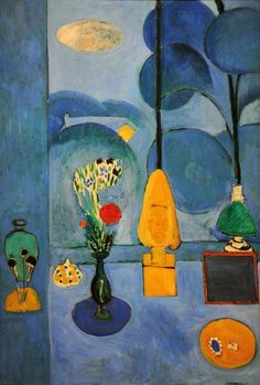 "thegiftsoflife: Henri Matisse: The Blue Window (1913) When this painting was first reproduced, in the May 1914 edition of the journal Les Soirées de Paris, it was titled La Glace sans tain, or ""the mirror without silvering,"" referring to a device known as a Claude mirror: the dark, red-framed square in the picture. Many artists used one of these slightly convex, dark-tinted mirrors to clarify their compositions; a scene reflected in it is less colorful than life, its compositional elements…"