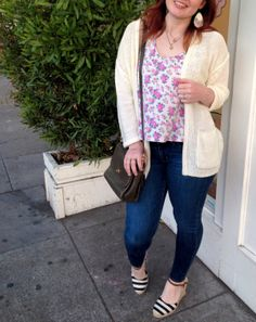 floral tank, open cardigan sweater, skinnies, striped wedges, floral earrings