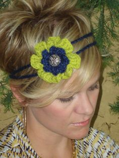 Navy and celery green crocheted flower 2 strand by HeadsUpFashion, $9.50