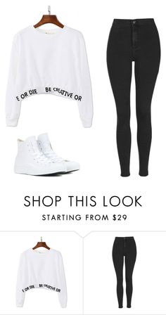 """Без названия #475"" by mariami-princess2013 ❤ liked on Polyvore featuring WithChic, Topshop and Converse"