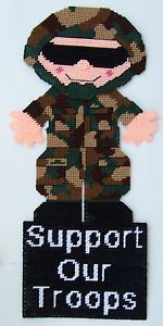 "Free Plastic Canvas Military Patterns | ... Our Troops"" Army Soldier Wall Hanging Plastic Canvas Pattern 
