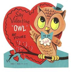 """CUTE LITTLE HOOT OWL SAYS """"OWL BE YOURS"""" / VINTAGE VALENTINE GREETING CARD"""