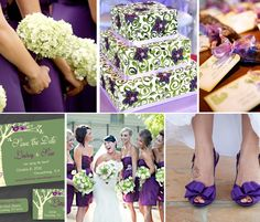 Love this green and purple inspiration board for a wedding. Could be a lot of fun! Like this better than purple and silver.
