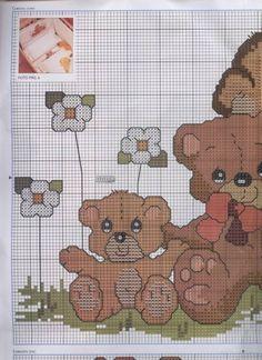 ENCANTOS EM PONTO CRUZ: Ursinhos para Enxoval de Bebê