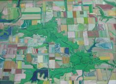 This is an example of an aerial view. Its 30 x 40 inches. I have taken a lot of planesand love to look out the window. Its an original way of doing landscape. In the Mid-west, a lot of the fields are going fallow--back to nature. In this view you can see how the forest is coming back, especially along the river, as fewer people are farming, and many people are donating theor land to the public. I also like to give or emphasize the design of a view, especially if their is a sense of movement…