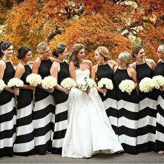 Striped bridesmaid dresses, modern black and white wedding, black and white stripes, kate spade inspired wedding, black tie glam wedding