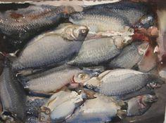 AKVARELLER I URVAL | Sandgrund Lars Lerin Konsthall Watercolour Painting, Watercolors, Still Life, Illustration Art, Fish, Artwork, Inspiring Art, Wizards, Painters