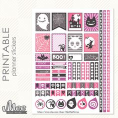 Cute and PINK :D Halloween Planner Stickers,printable EC Life Planner Stickers, Fall Planner Sticker, Planner Accessory