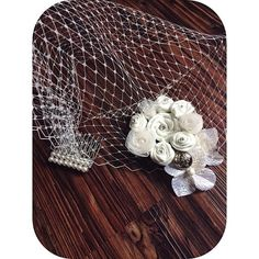 Ivory Pearl Birdcage Veil by WVintagevibe on Etsy